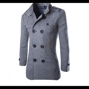 0565 Wool Pea Coat for Men,Fleece Jacket Classic